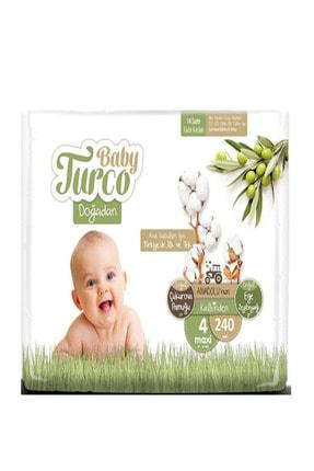 Baby Turco Doğadan Bebek Bezi 4 Beden 8 - 14 kg 240 Adet + 10ml Pişik Kremi