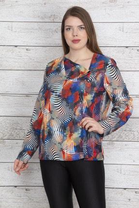 Şans Kadın Renkli Devrik Yakalı Ön Çıtçıt Düğmeli Renkli Saten Bluz 65N23205