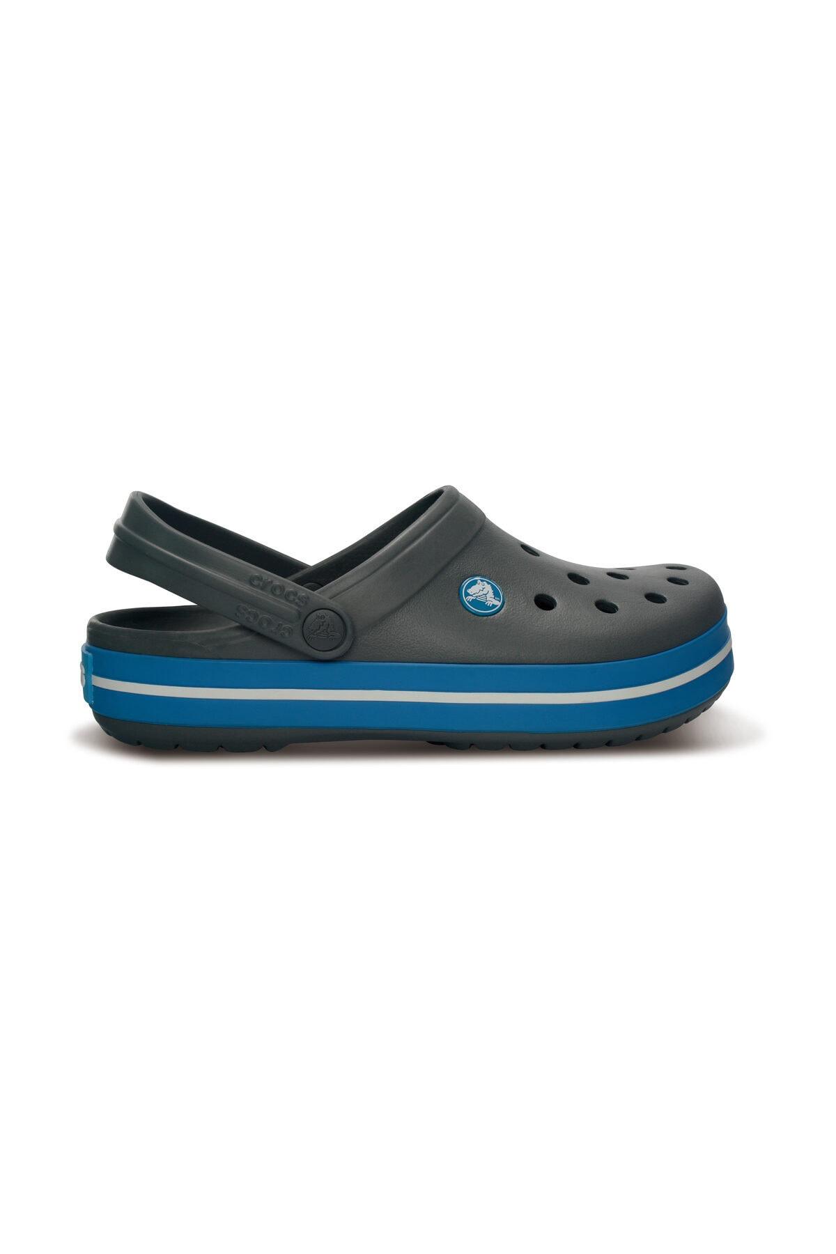 Crocs Koyu Gri Unisex Crocband Kenarı Mavi Beyaz Çizgili Terlik 1