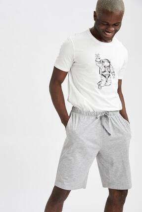 DeFacto Erkek Beyaz Slim Fit Baskılı Pijama Takımı