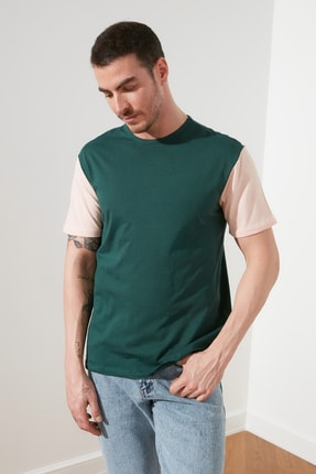 TRENDYOL MAN Zümrüt Yeşili Erkek Bisiklet Yaka Regular Fit T-Shirt TMNSS20TS0004