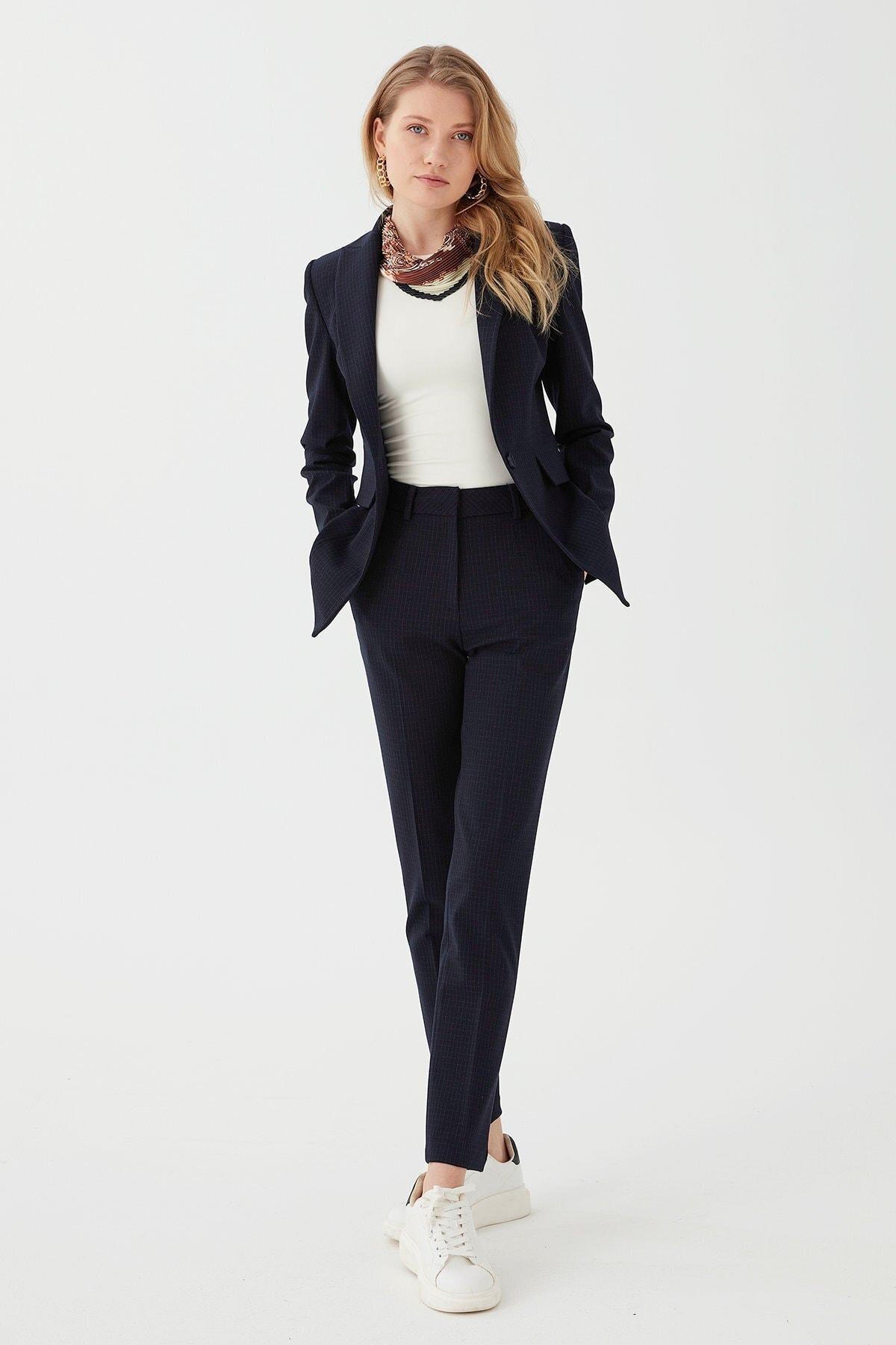 Chima Kadın Lacivert Dar Paça Yüksek Bel Pantolon 1