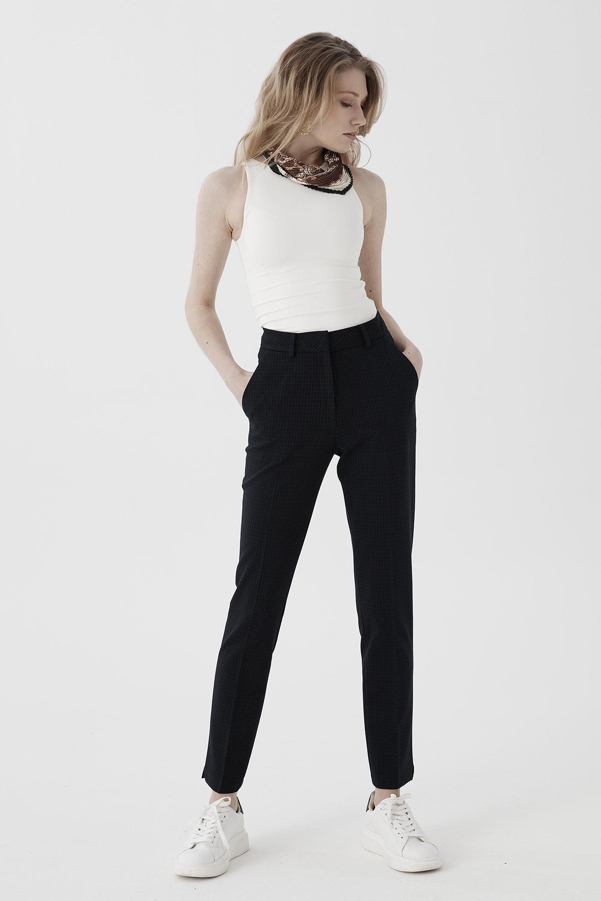 Chima Kadın Lacivert Dar Paça Yüksek Bel Pantolon 2