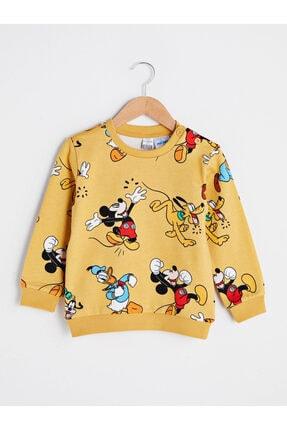 LC Waikiki Mickey Mouse Erkek Bebek Sarı Baskılı Lug Sweatshirt