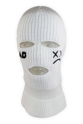 zirve şapka Kışlık Ünisex 3 Gözlük Kar Maskesi Sad Beyaz
