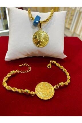 Alzey Gold İmitasyon Reşat Altınlı Kolye Bileklik Burgu Set Takım