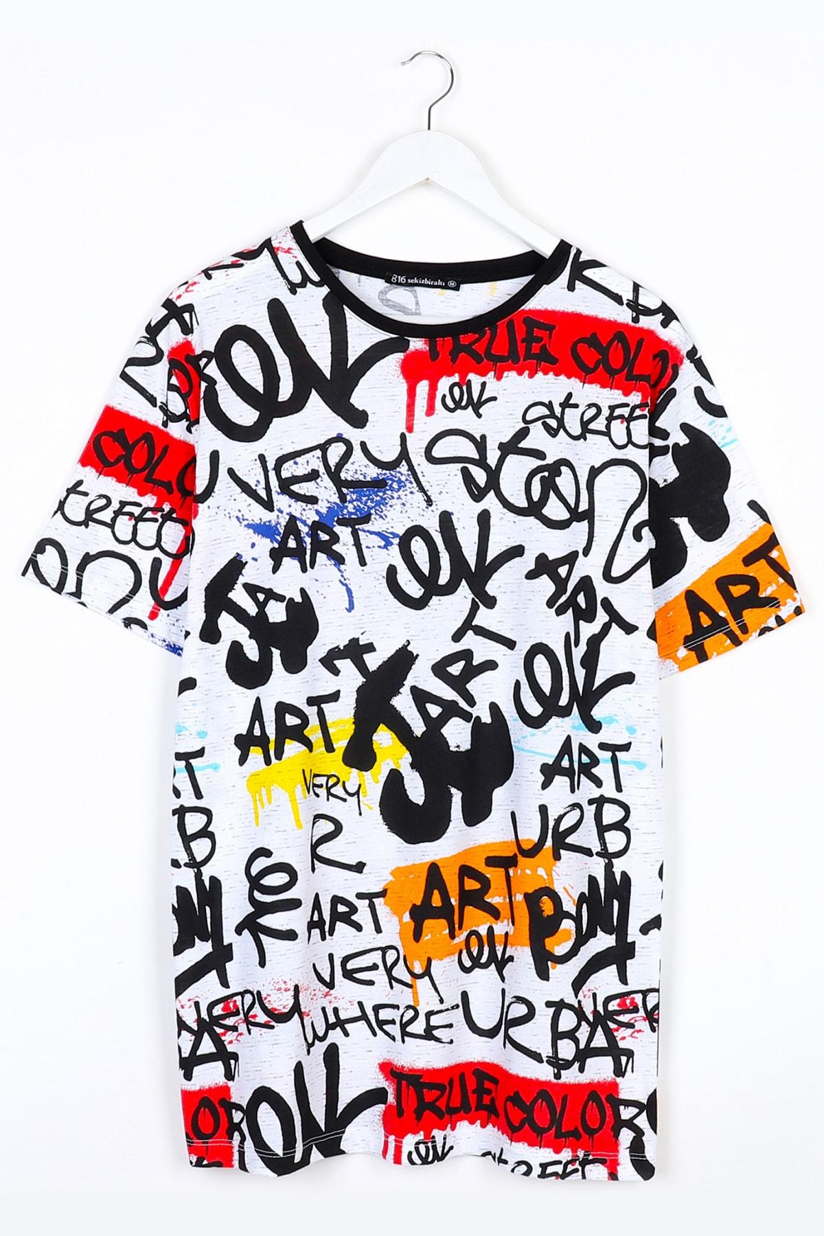 Sekizbiraltı Yazı Baskılı Oversize Unisex Tshirt 1