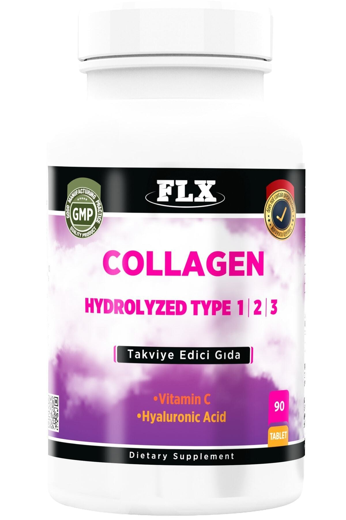 FLX Kollajen Tip-1 Tip-2 Tip-3 Hyaluronic Asit Vitamin C 90 Tablet Collagen 1