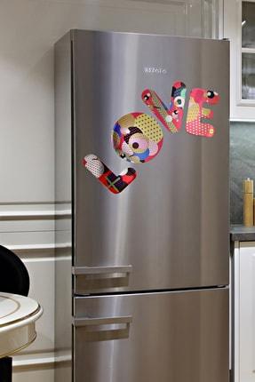 frideco Love Letters Büyük Boy Dekoratif Buzdolabı Magneti (Metalik Baskı) 4 Parça