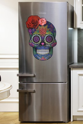frideco Sugarskull Büyük Boy Dekoratif Buzdolabı Magneti (Metalik Baskı) 45 Cmx67 Cm
