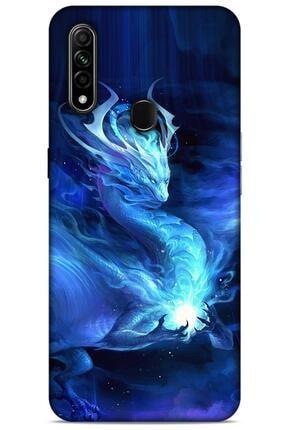 Lopard Lacivert Oppo A31 Uyumlu Dragons Glitter Kılıf