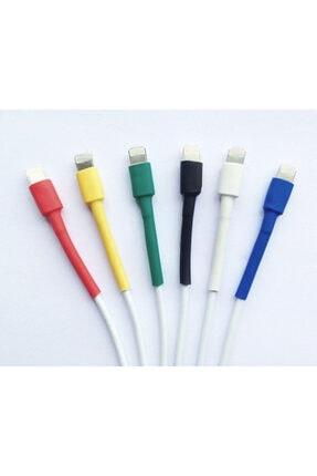 Çetin Iphone  Uyumlu Şarj Kablo Koruyucu Makaron 12 Adet 6 cm 6 Farklı Renk