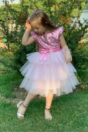 Buse&Eylül Bebe Pembe Pul Payet Tütülü Kız Çocuk Parti Elbisesi