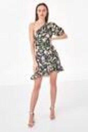 Twist Kadın Siyah Fırfır Şeritli Tek Omuz Elbise
