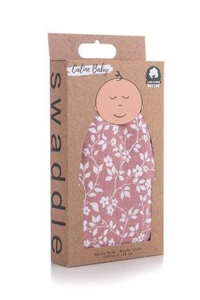 Caline Baby Müslin Bezi Örtü Menekşe Desen - Gül Kurusu 120x120 Cm + 4 Adet Ağız Mendili