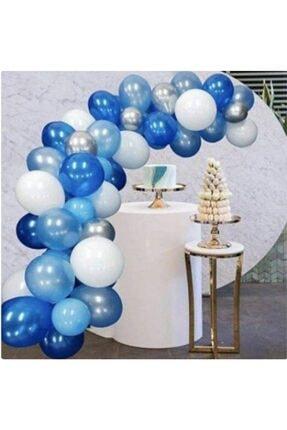 New Eco 50 Adet Karışık Açık Mavi, Koyu Mavi, Gümüş, Beyaz Metalik Parlak Balon Ve 2,5 Metre Balon Zinciri