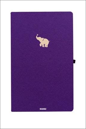 Silgisiz Mor Çizgili Not Defteri Tarihsiz Ajanda Lastikli Defter 13x21 Cm Notebook