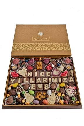 40 YIL ÇİKOLATA KAHVE Yılbaşı Harfli Yazılı Isimli Resimli Hediyelik Çikolata Draje Kutusu