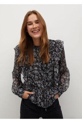 MANGO Woman Kadın Siyah Fırfırlı Çiçekli Bluz