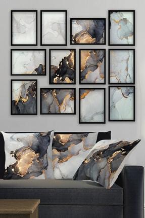 Tablo Center 12li Çerçeve Görünümlü Tablo Ve 3lü Kırlent Kılıfı