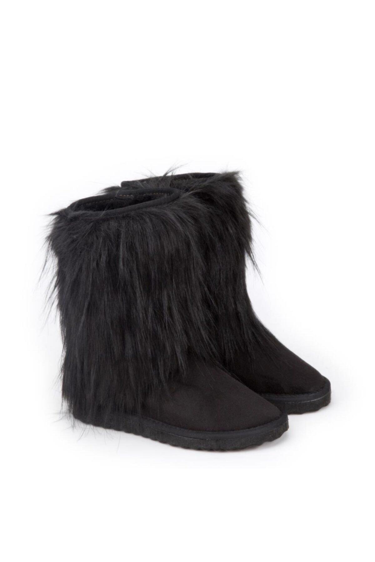 Antarctica Boots Kürk Detaylı Içi Kürklü Eva Taban Süet Siyah Çocuk Bot Atkodps507s 1