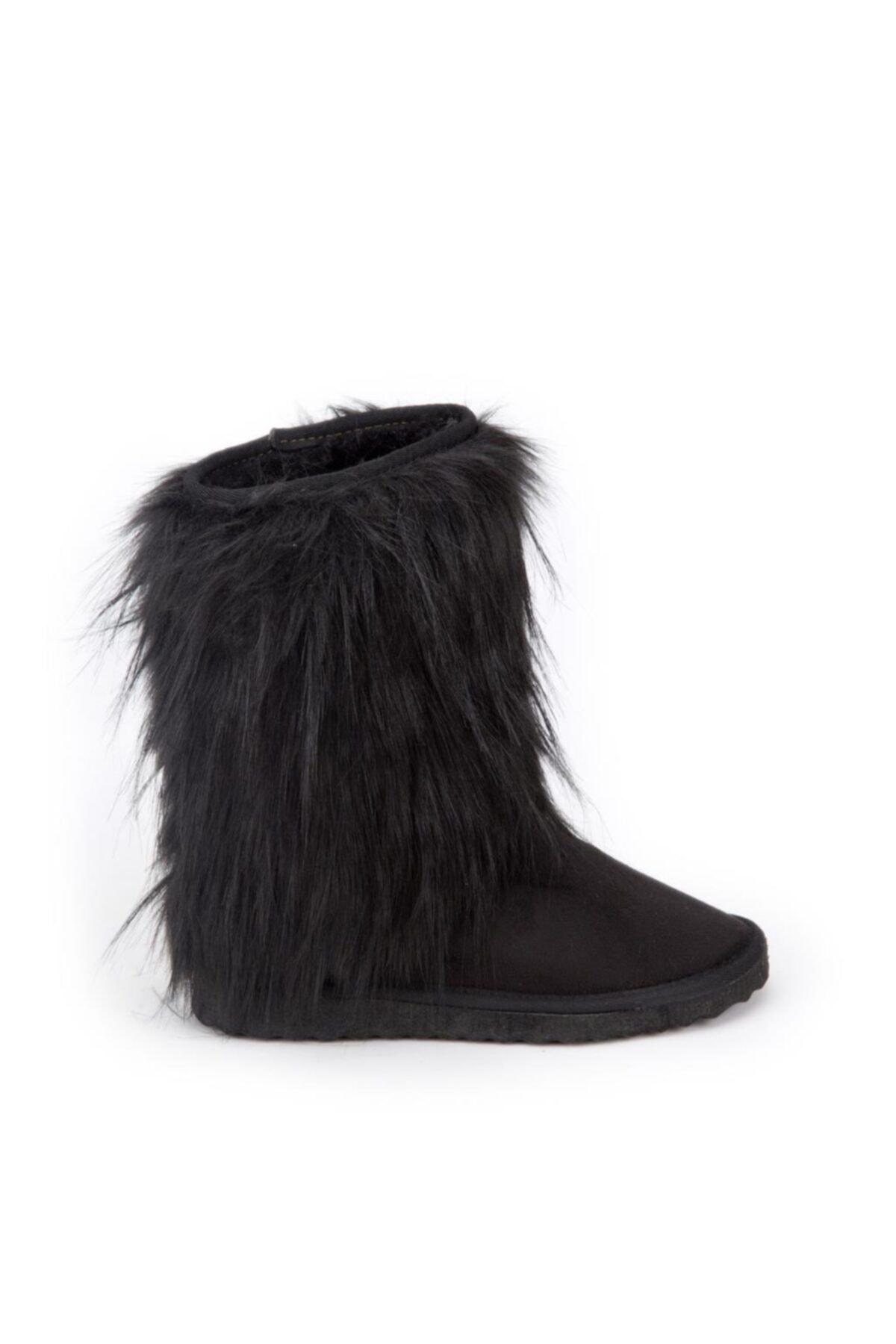 Antarctica Boots Kürk Detaylı Içi Kürklü Eva Taban Süet Siyah Çocuk Bot Atkodps507s 2