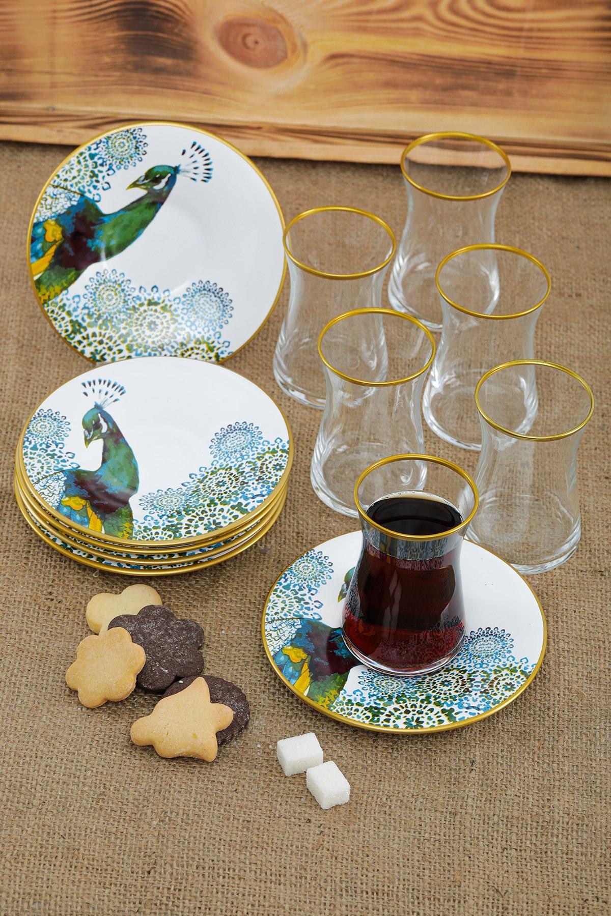 Laluxe Tavuskuşu Desenli 12 Parça Seramik Çay Bardağı Takımı Seti 1