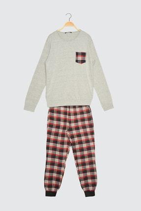 TRENDYOL MAN Kırmızı Ekoseli Dokuma Pijama Takımı THMAW21PT0358