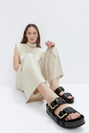 Uterqüe Kadın Siyah Tokalı Deri İç Taban Detaylı Sandalet 17601780