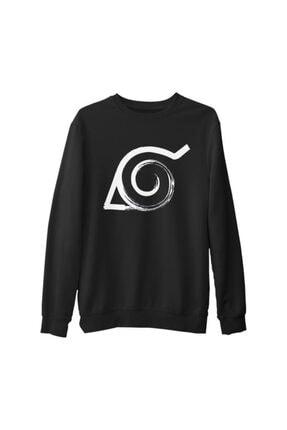 Lord T-Shirt Erkek Siyah Naruto - Logo Kalın Sweatshirt