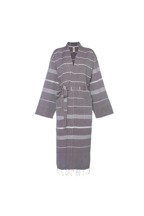 Hare Bornoz Leyla Kimono Yaka Pamuklu Peştemal Kumaşından Kahverengi