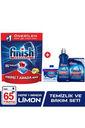 Finish Hepsi Bir Arada 65 Tablet Bulaşık Makinesi Deterjanı Limon + Temizlik Ve Bakım Seti