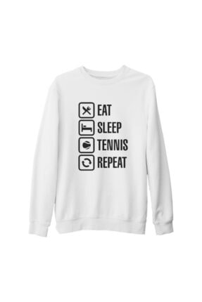 Lord T-Shirt Unisex Beyaz Tenis Eat Sleep Tennis Kalın Sweatshirt