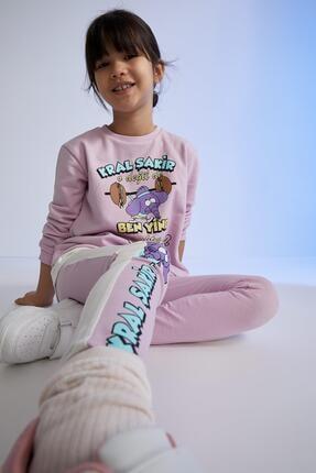 DeFacto Kız Çocuk Mor Kral Şakir Lisanslı Sweatshirt