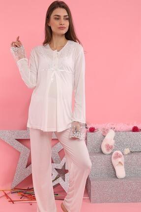 Xses Kadın Ekru Lohusa Pijama Takımı