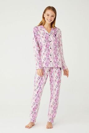 U.S POLO Kadın Pudra Boydan Patlı Pijama Takım