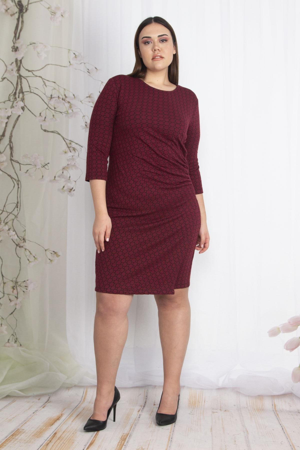 Şans Kadın Bordo Bel Detaylı Elbise 65N22426 2