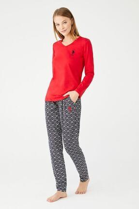 U.S POLO U.s. Polo Assn. V Yaka Kadın Pijama Takımı 16411