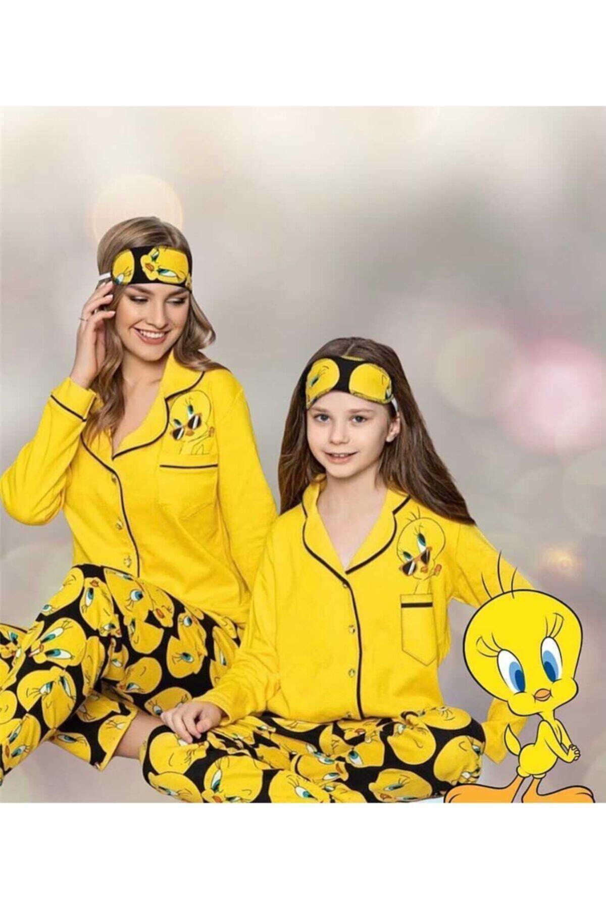 istanbultrend Anne Kız Sarı Tweety Pijama Takımı Hllo1003 1