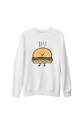 Lord T-Shirt Unisex Beyaz Best Friends  Hamburger Kalın Sweatshirt