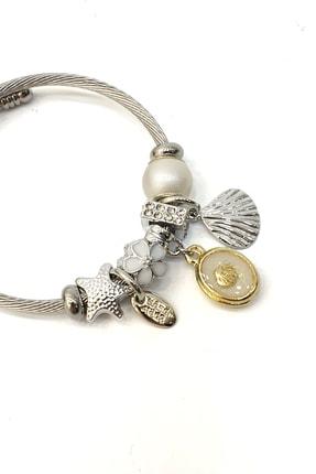 Marjin Kadın Beyaz Boncuklu Deniz Kabuğu Figürlü Gümüş Renkli Bilezikbeyaz