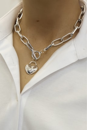 Marjin Kadın Kalp Figürlü Gümüş Renkli Zincir Kolyegümüş