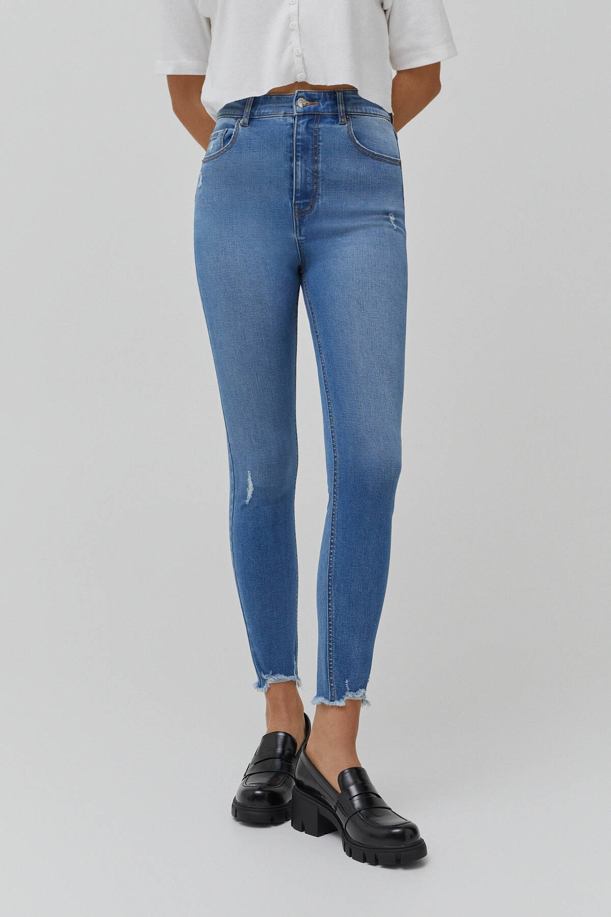 Pull & Bear Kadın  Mavi Yüksek Bel Skinny Fit Kapri Jean 09689301 2