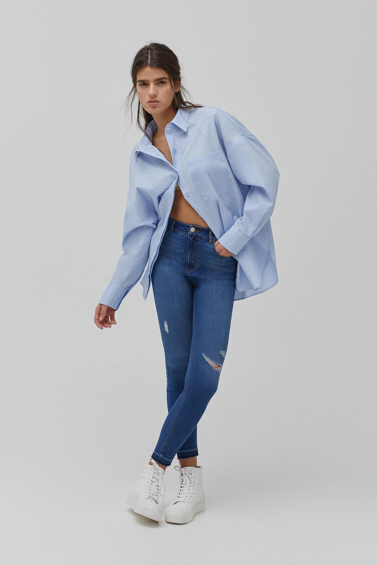 Pull & Bear Kadın  Mürekkep Mavisi Yüksek Bel Skinny Fit Kapri Jean 09689301 1