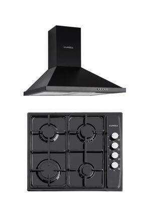 Luxell 2'li Ankastre Set (Dp6-s Siyah Davlumbaz-410bf Siyah Ocak