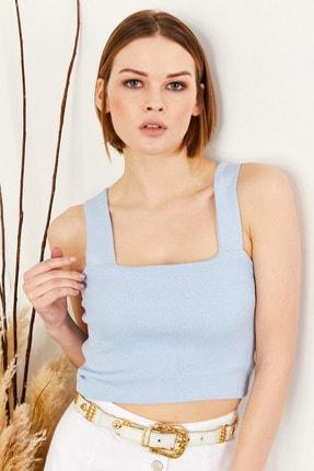 Olalook Kadın Mavi Önü Çift Katlı Bel Üstü Bluz BDY-00000010