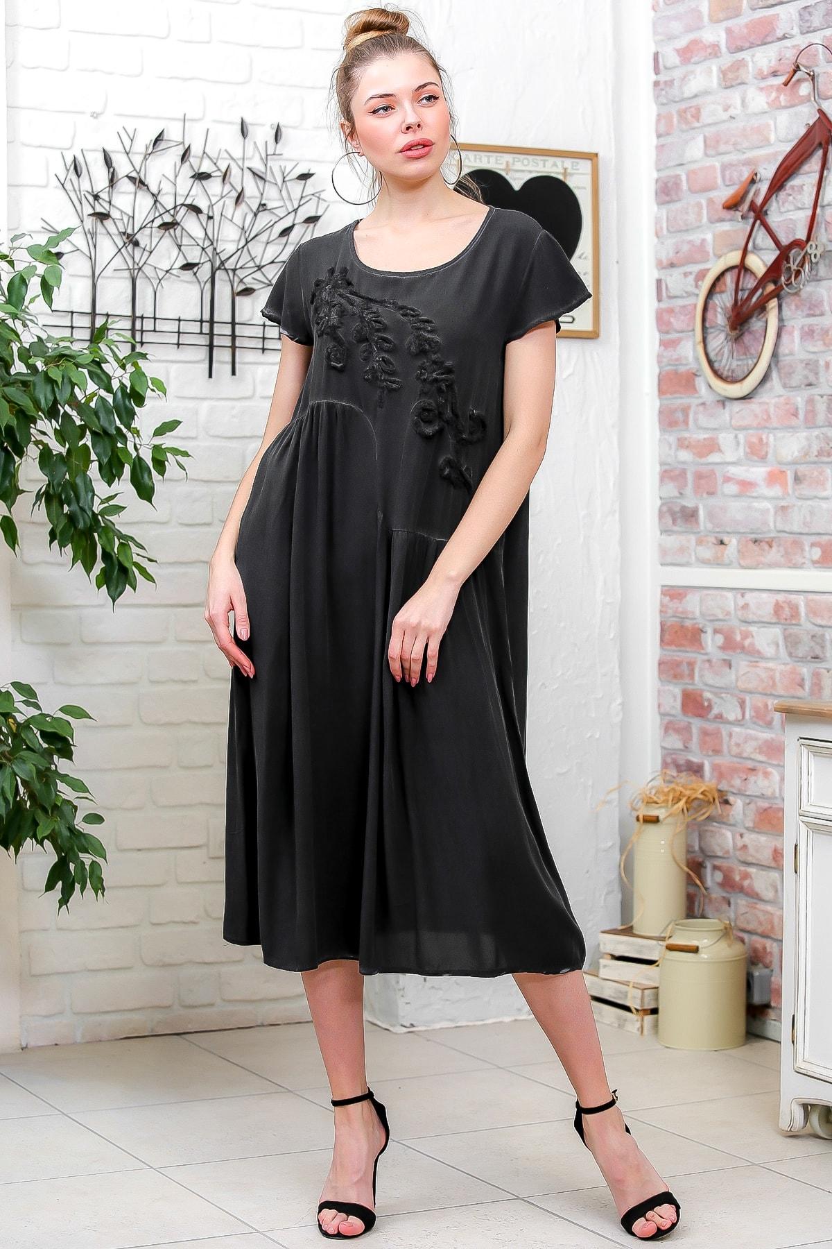 Chiccy Kadın Füme Süzene Nakışlı Asimetrik Kesim Midi Salaş Yıkamalı Elbise M10160000EL95606