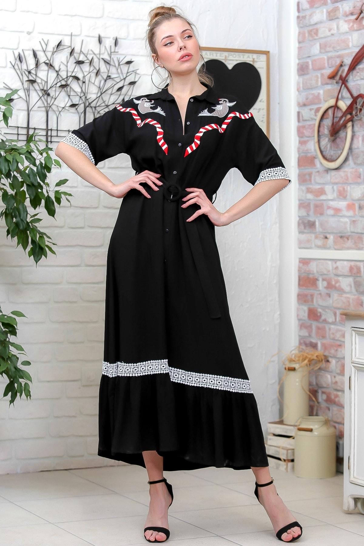 Chiccy Kadın Siyah Koi Balık Nakışlı Gömlek Yaka Düğmeli Tokalı Kuşaklı Uzun Dokuma Elbise M10160000EL95605