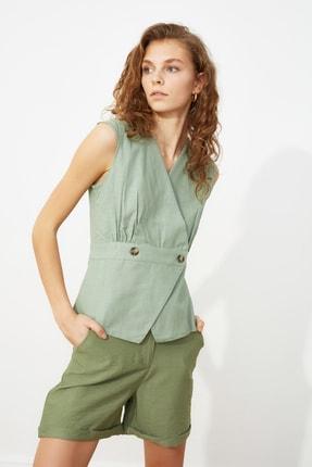 TRENDYOLMİLLA Mint Kemik Düğme Detaylı Bluz TWOSS20BZ0707