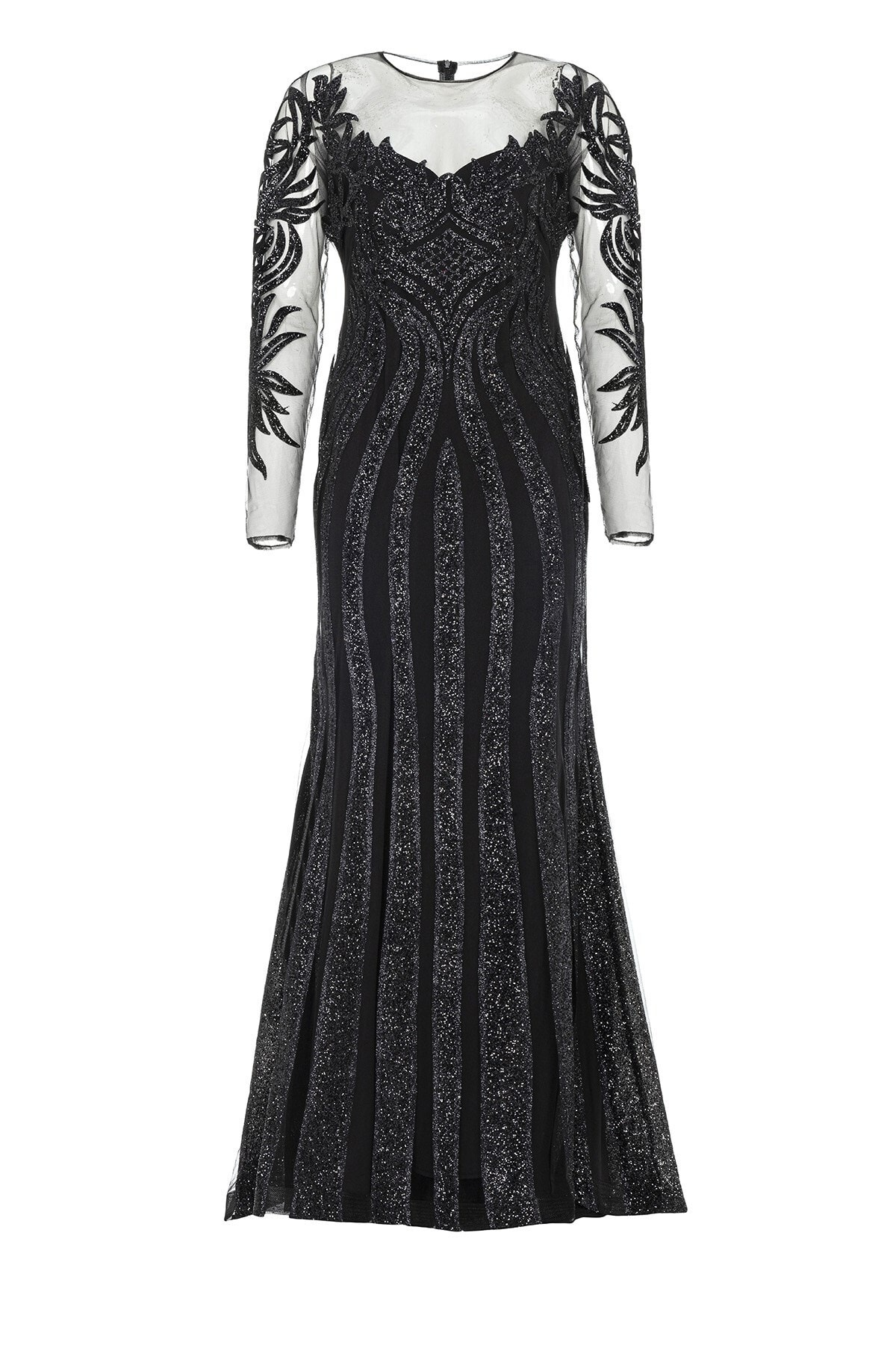 Abiye Sarayı Siyah Transparan Simli Uzun Abiye Elbise 1
